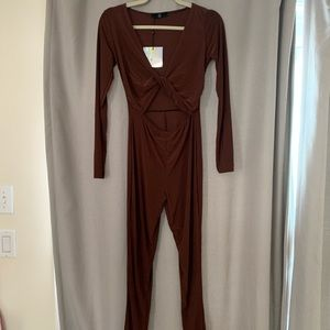 Missguided Brown Stretch Jumpsuit